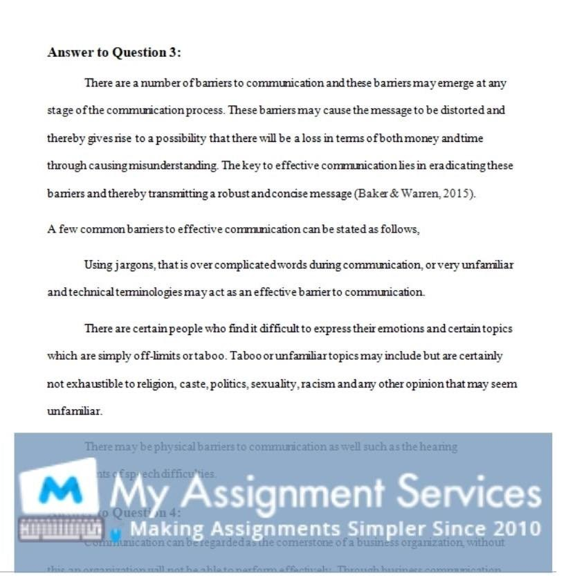 college assignment answer sample 2