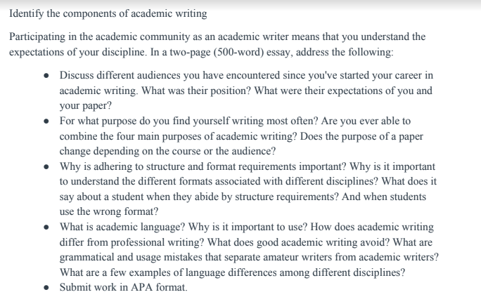 identify the components of academic writing