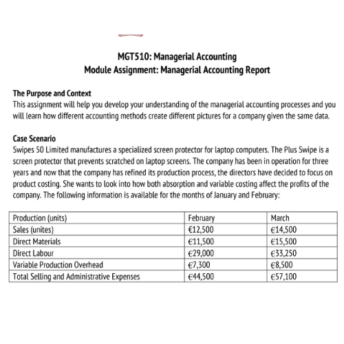 managerial accounting assignment sample 2