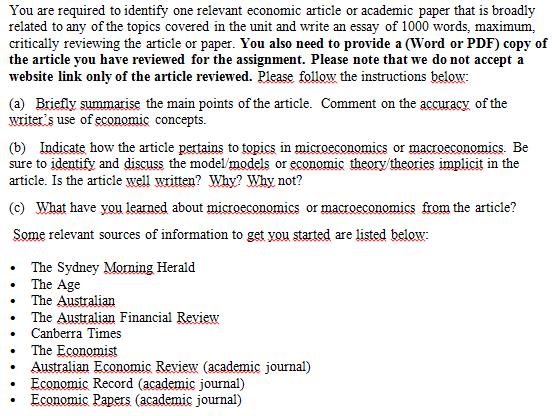 microeconomics assignment sample