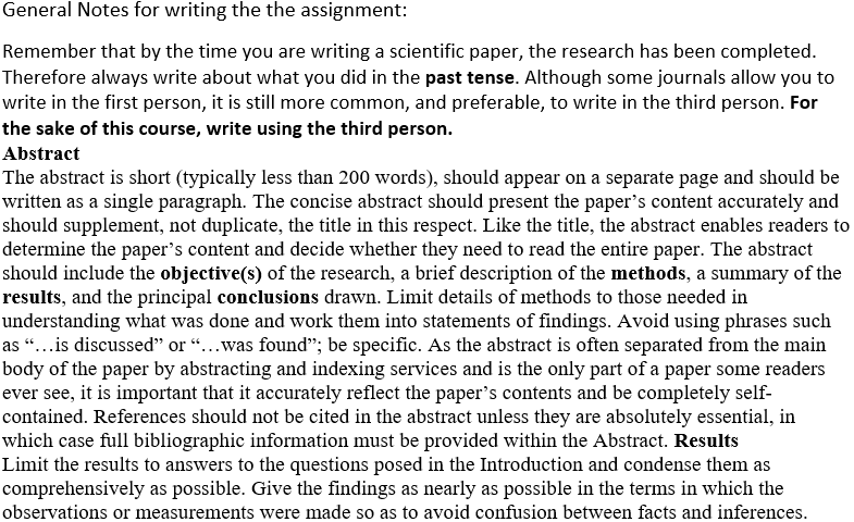 science assignment sample